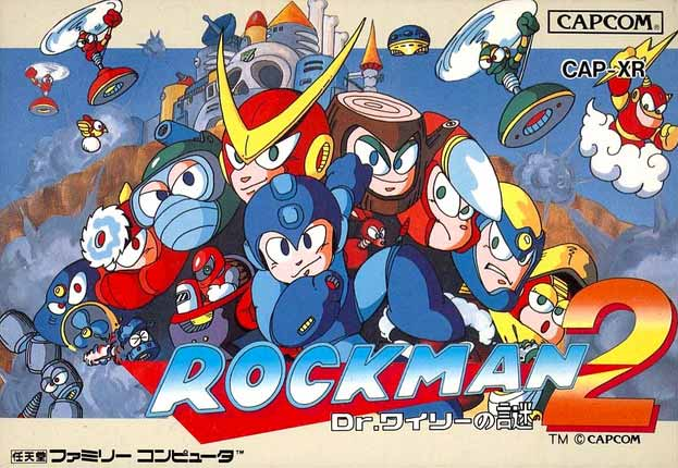 Boxart of Rockman 2 featuring its cast of characters