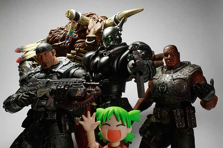 A group of figurines from the Gears of War franchise
