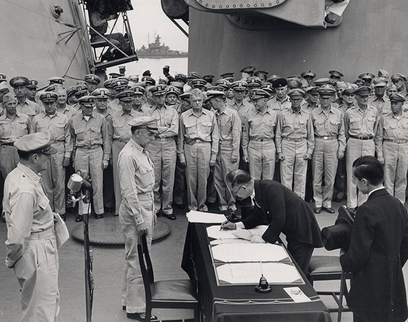 signing of the Japanese Instrument of Surrender onboard the USS Missouri