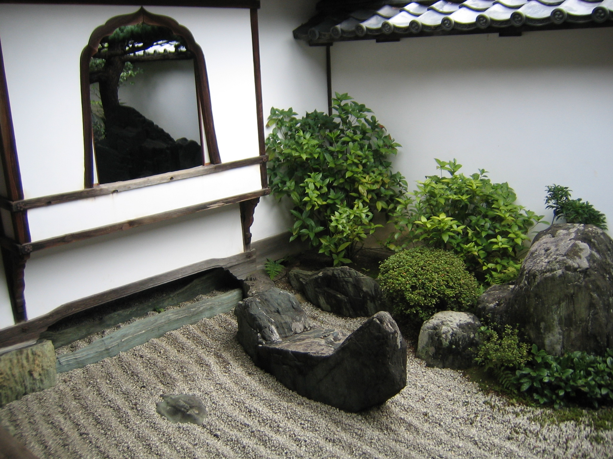 rock garden next to window