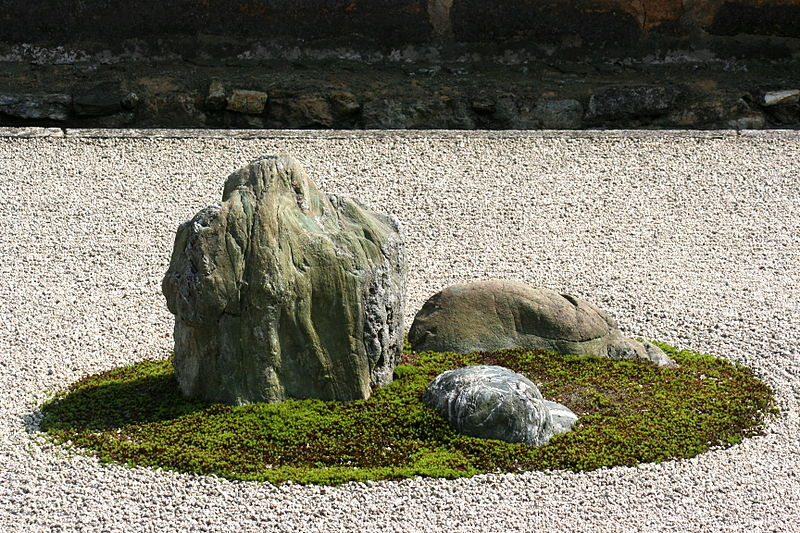 close up of stone in rock garden