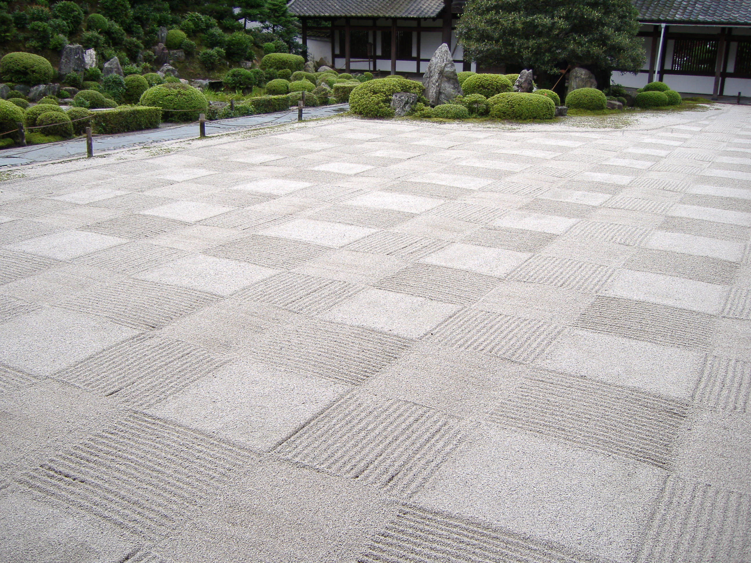 rock garden sand arranged in checkerboard