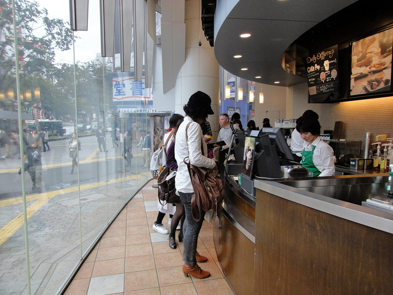 customers at Japanese Starbucks