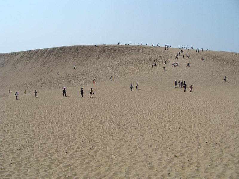 people walking over sand dune