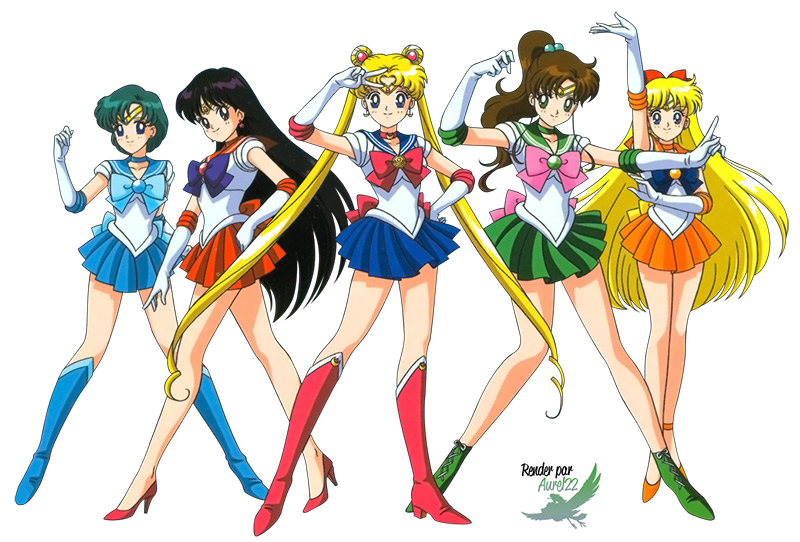five sailor scouts of inner senshi ready for action