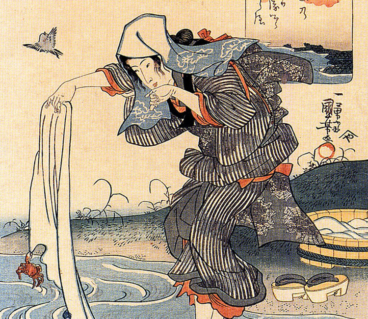 Edo period art with tenugui