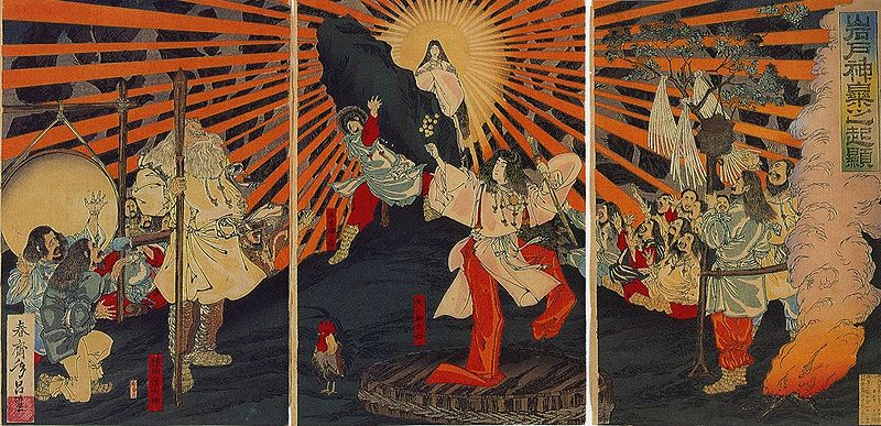 shinto tropes anime amaterasu coming out of the cave