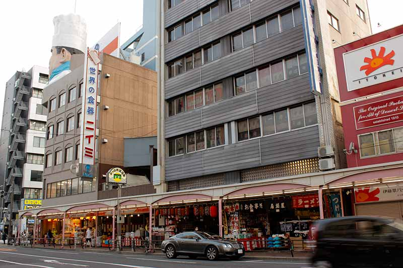 street with kitchen supply stores in Japan