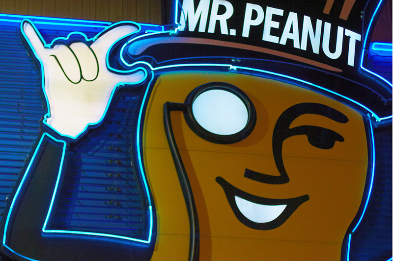 mr peanut ad blue background