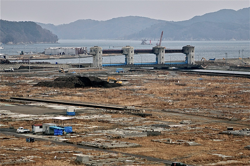 Barren stretch of land by the ocean in Fukushima