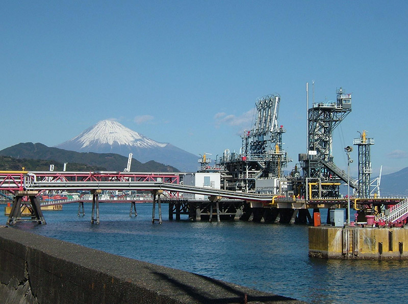 Natural Gas tanks with Mt. Fuji in the background