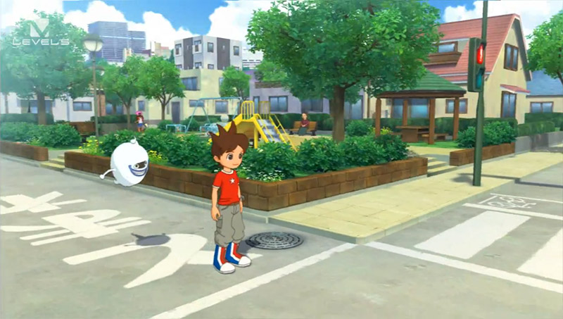 animated boy and ghost at street corner