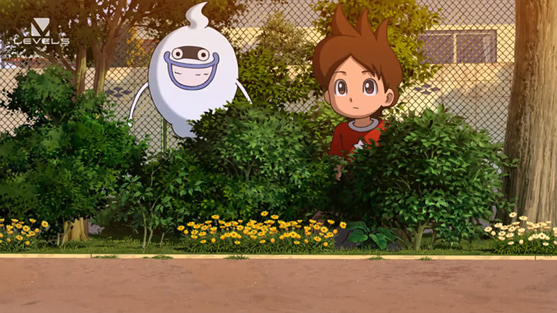 animated boy and ghost in bushes