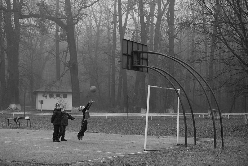 black & white photography basketball children