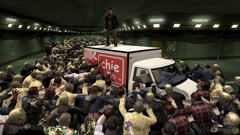 Zombies surround the protagonist of the game Dead Rising