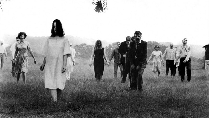 A field of zombies from Night of the Living Dead