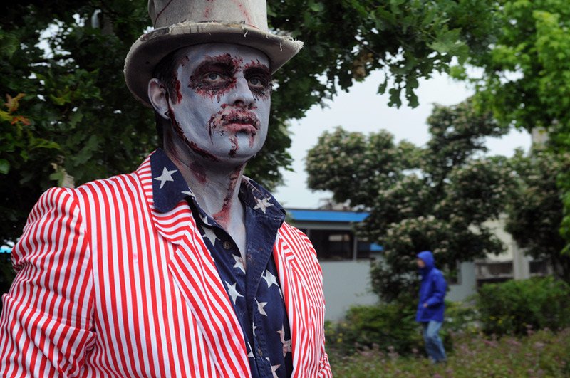 A man dressed up as zombie Uncle Sam