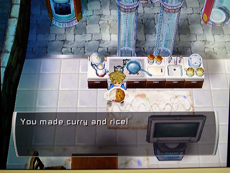 Screenshot from a video game where you cook curry and rice