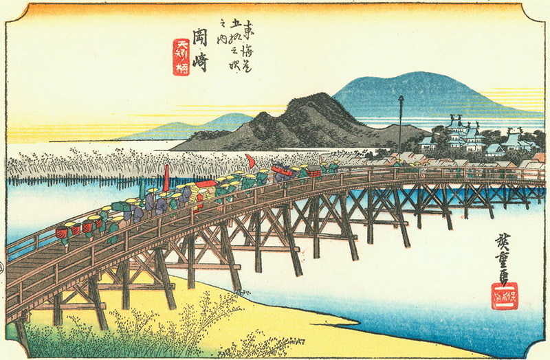 Woodblock print of a procession crossing a bridge