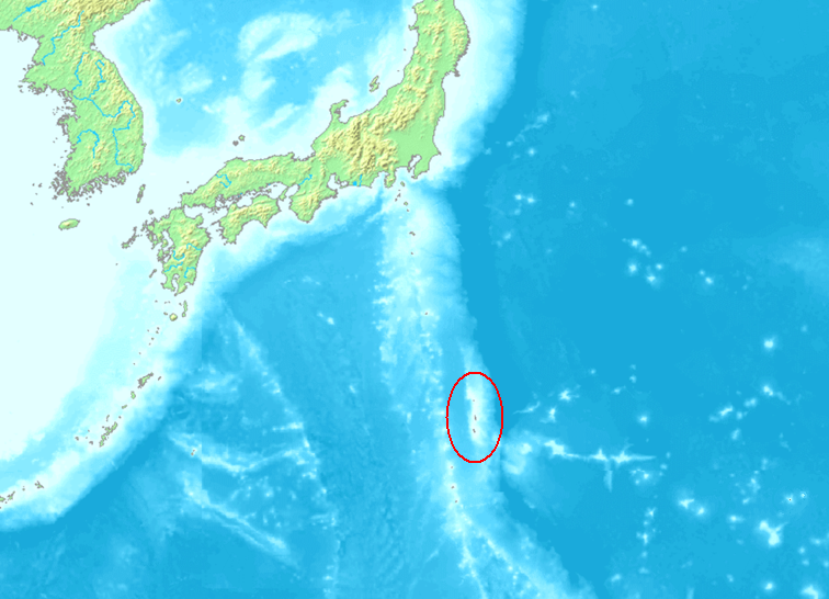 Map of the south of Japan with a few small islands circled