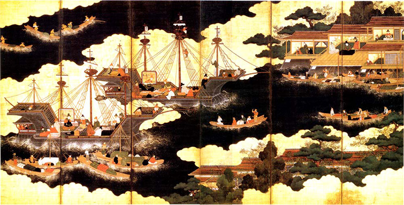 Folding screen painting of large ships crossing a black sea
