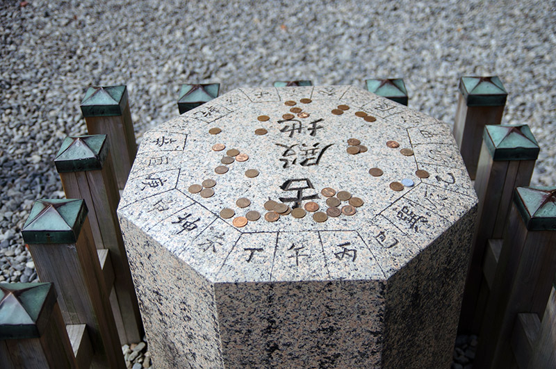 coins on zodiac stone