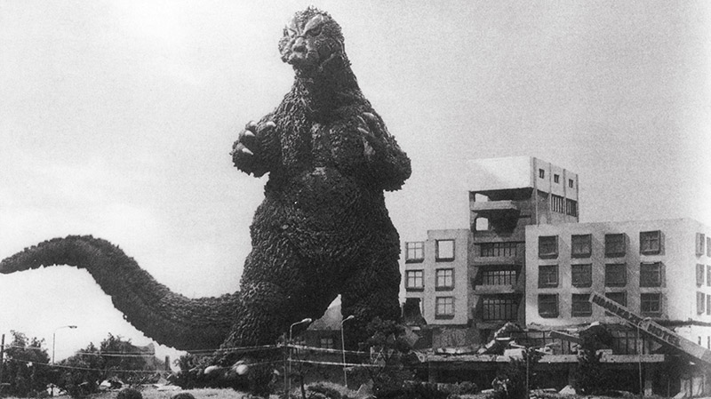 Black and white photo of Godzilla