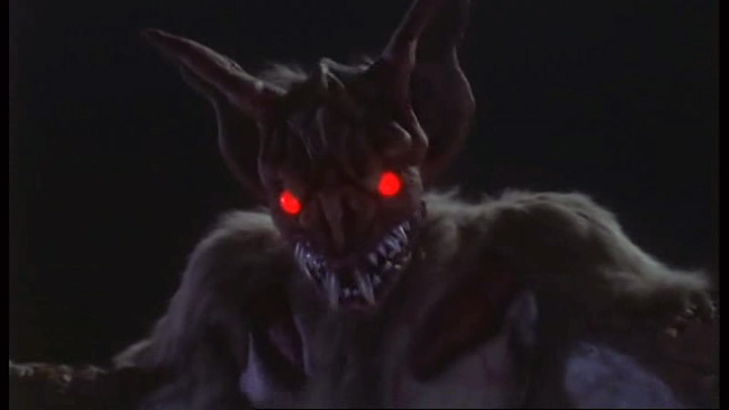 Kyuranos, large bat kaiju with red glowing eyes
