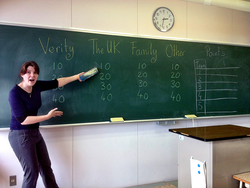 an esl teacher playing a game with students
