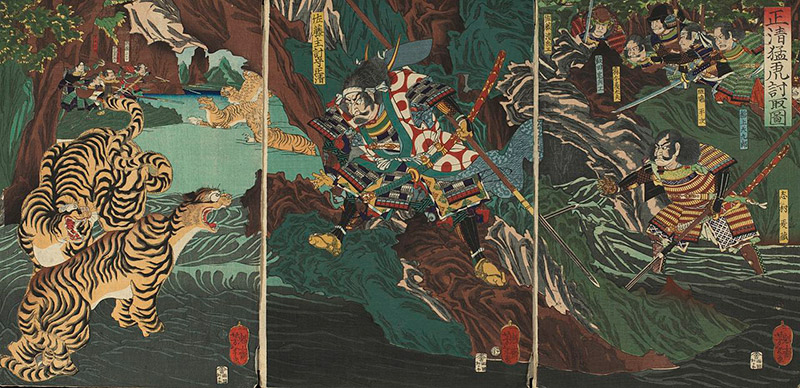painting of kiyomasa hunting tigers