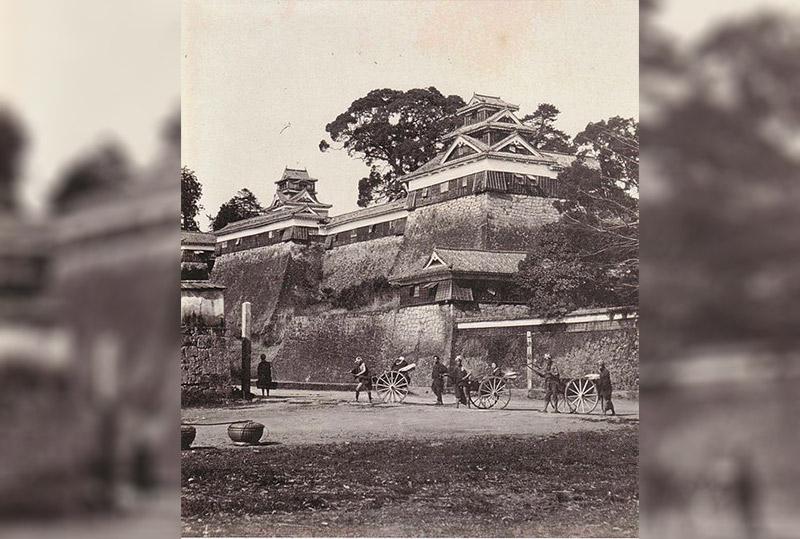 black & white photograph of kumamoto castle