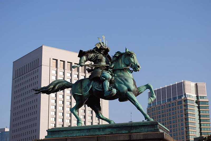 statue of samurai on horse