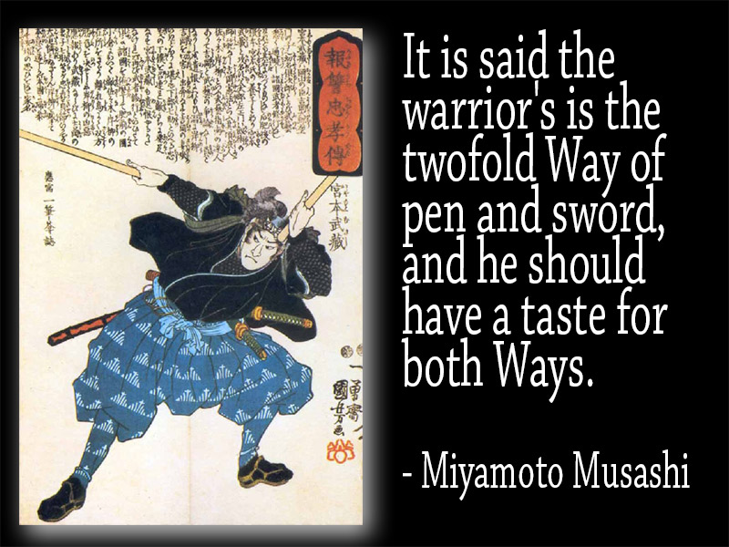 picture of samurai next to Musashi quote