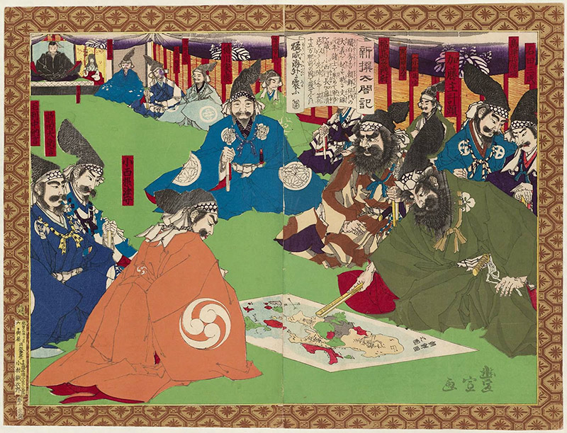 Kiyomasa participating in the planning of the invasion of Korea