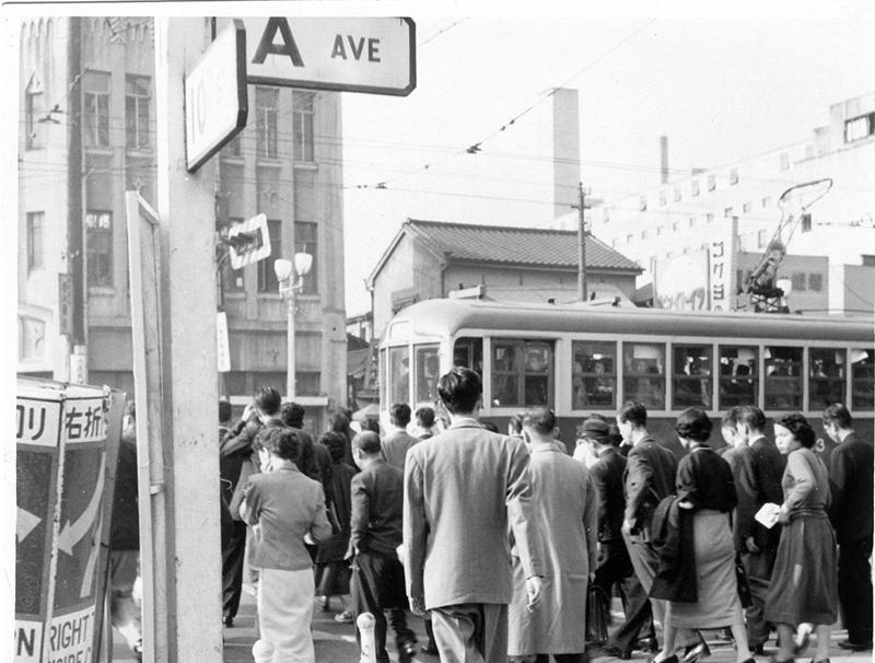 fifties japan streetcar near tokyo