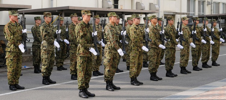 JGSDF Personnel drills  at Camp Itami