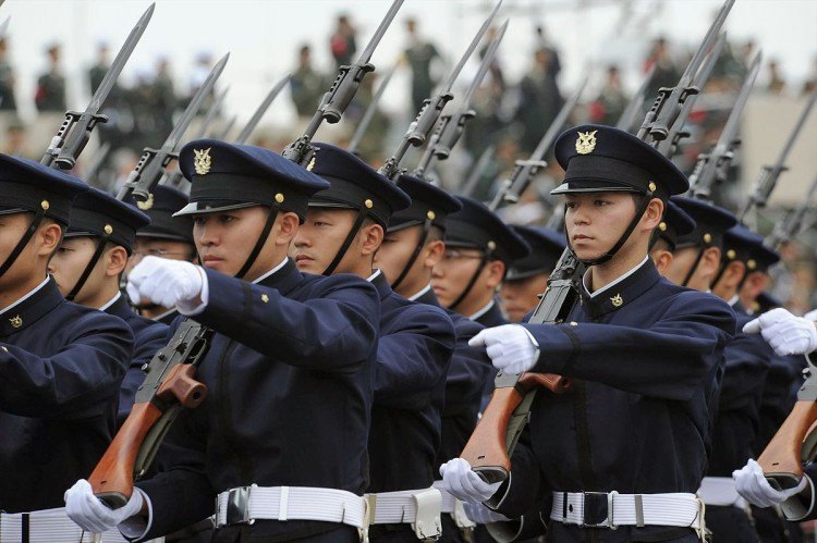 JSDF soldiers marching at a parade
