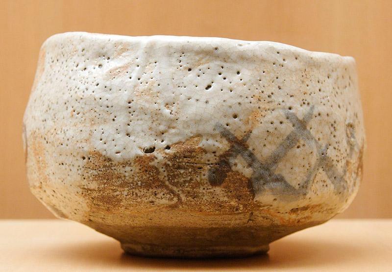 old pottery white japanese tea bowl