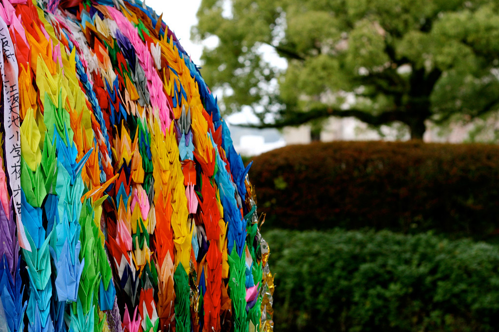 Rainbow origami cranes at the Hiroshima Peace Memorial