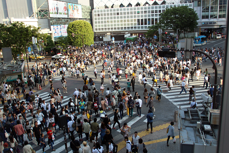 busy crossing in Japan