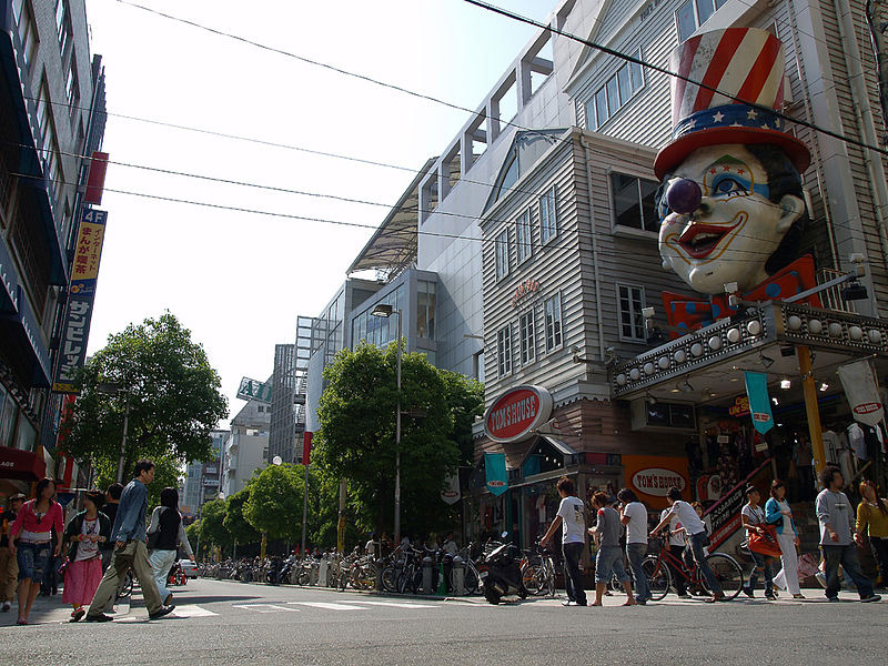 america town osaka street with clown face on building