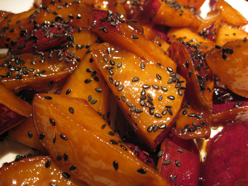 japanese sweet sweet potatoes in syrup with black sesame
