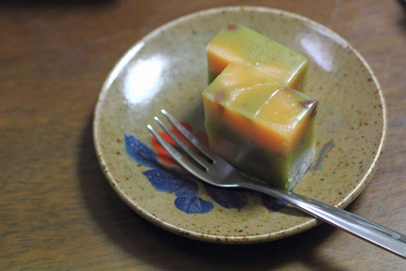 japanese wagashi uirou dessert on painted plate with fork