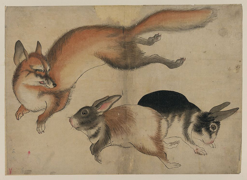 painting of a fox and two rabbits