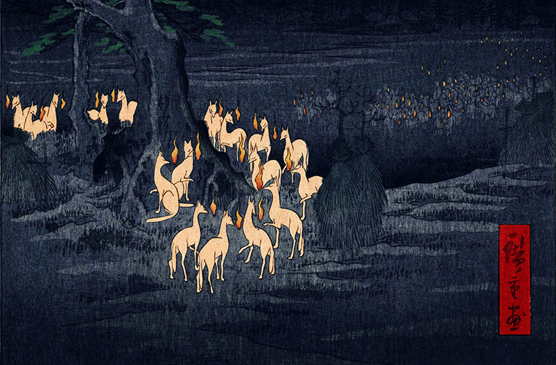 ukiyo-e print of a field at night filled with kitsune with fire in front of their noses