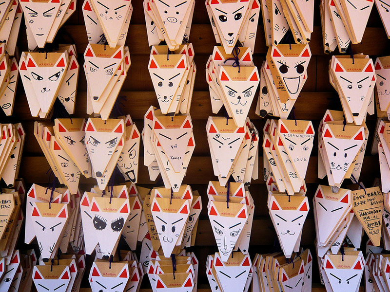 fox masks at a japanese festival