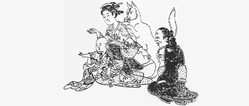 black and white drawing of a family with a fox behind them