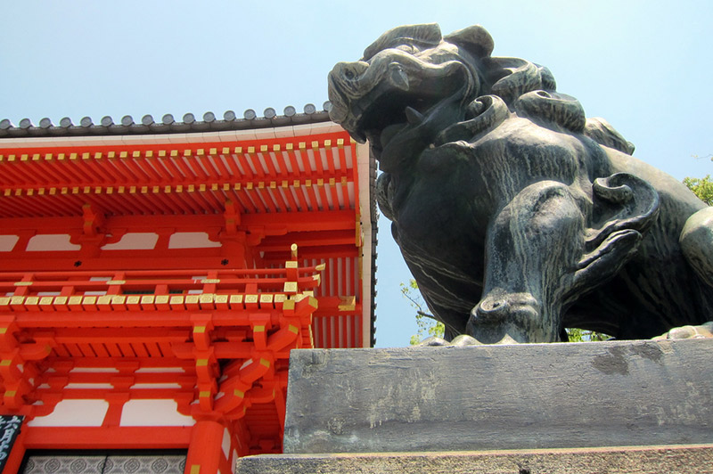 japanese stone lion dog and shrine