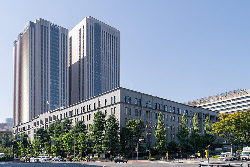 two big buildings blue sky japan ministry of finance