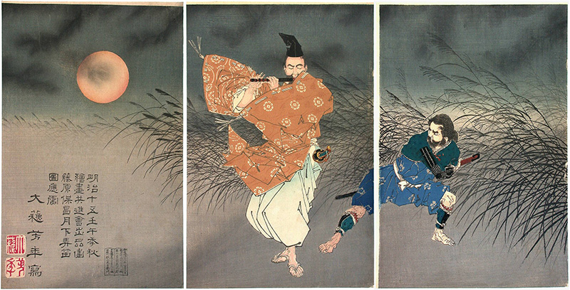Traditional Japanese painting of a man playing a flute with a ninja behind him